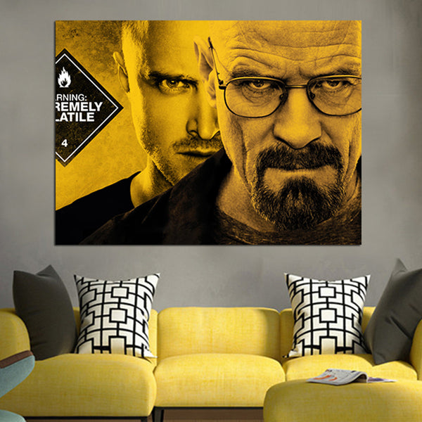 1 Panel Walter White And Jesse Face Wall Art Canvas