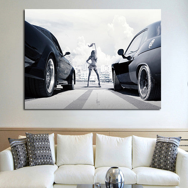 1 Panel Fast & Furious Racing Cars Wall Art Canvas
