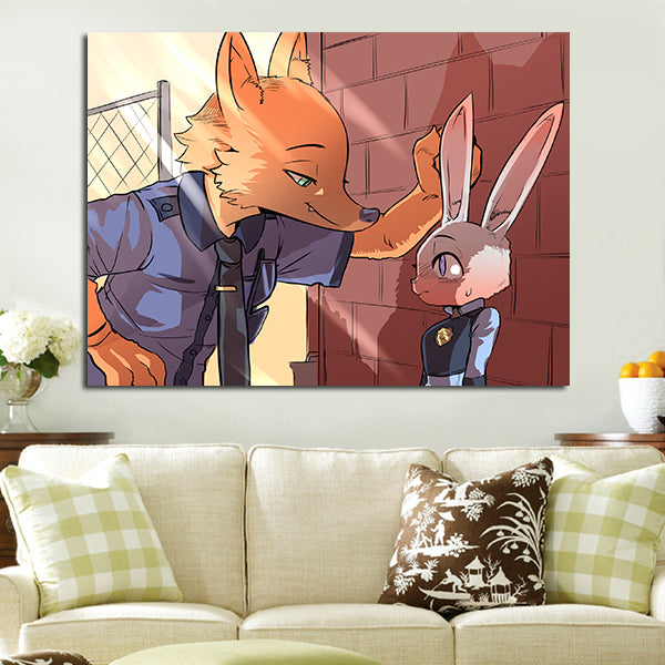 1 Panel Judy Hopps And Nick Wilde In Police Costume Wall Art Canvas