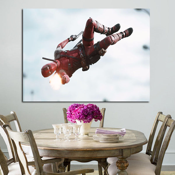 1 Panel Deadpool Fire His Gun Wall Art Canvas