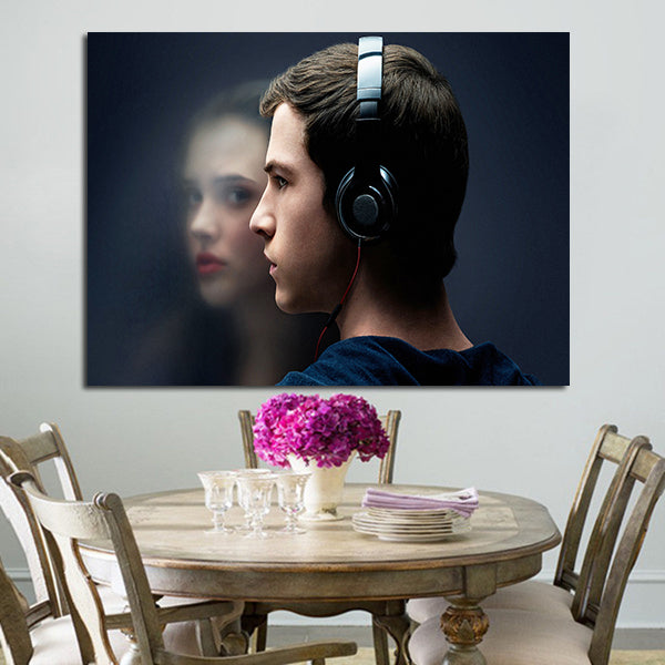 1 Panel Clay Jensen And Hannah Baker Face Wall Art Canvas