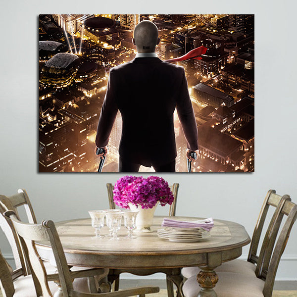 1 Panel Hitman Agent 47 Turn Back Looks At City Wall Art Canvas