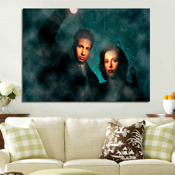 1 Panel Fox Mulder Dana Scully Characters Wall Art Canvas