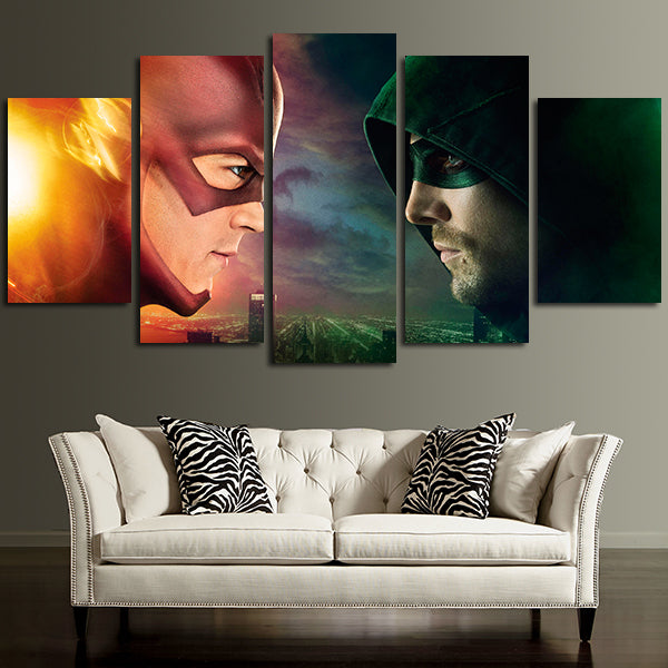 5 Panel Green Arrow Vs Flash Wall Art Canvas