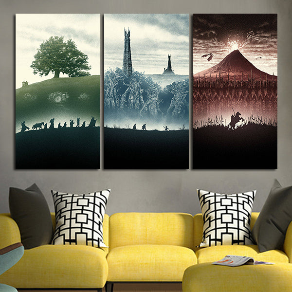 3 Panel Lord Of the Rings Trilogy Wall Art Canvas