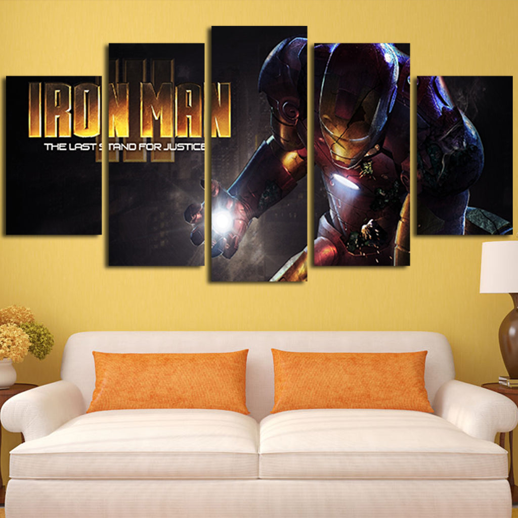 5 Panel Iron Man The Last Stand For Justice Wall Art Canvas – Super ...