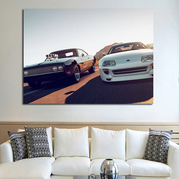 1 Panel Fast & Furious Double Car Wall Art Canvas