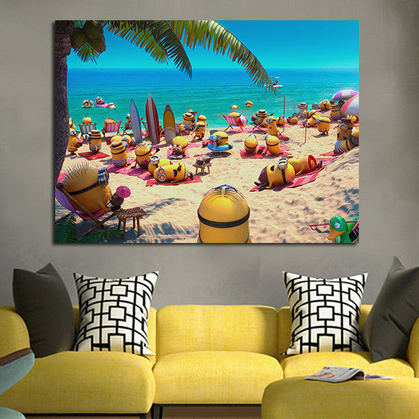 1 Panel Minions In The Beaches Wall Art Canvas