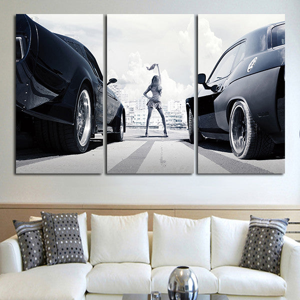3 Panel Fast & Furious Racing Cars Wall Art Canvas