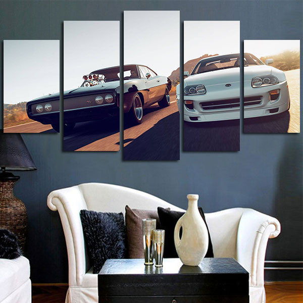 Fast & Furious Double Car Wall Art Canvas
