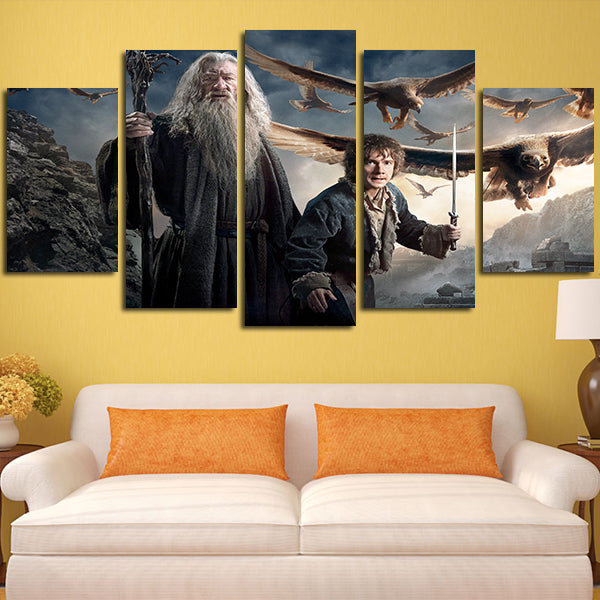 5 Panel Gandalf And Bilbo Baggins In The Hobbit 3 Wall Art Canvas ...