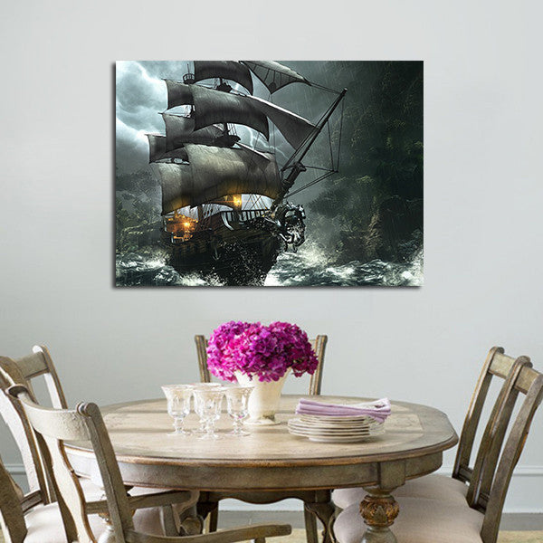 Pirates Of The Caribbean Boat Wall Art Canvas