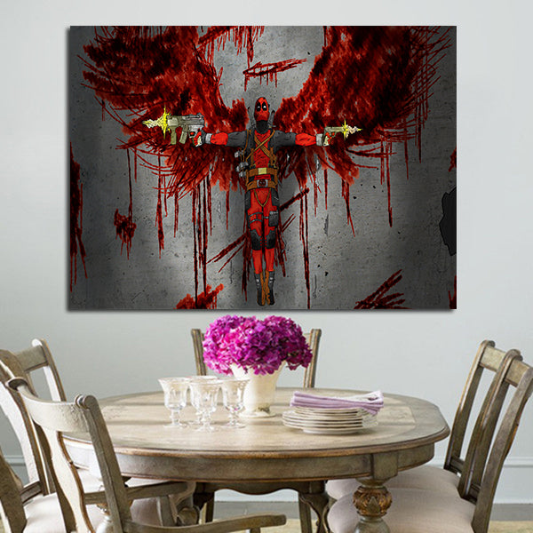 1 Panel Deadpool With Blood Wings Wall Art Canvas