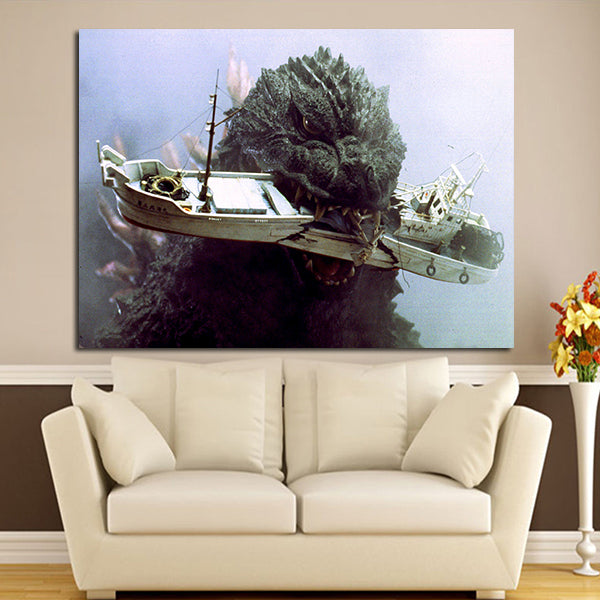 1 Panel Godzilla Bites The Ship Wall Art Canvas