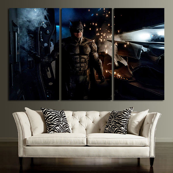 3 Panel Batman Ben Affleck New Suit Wall Art Canvas