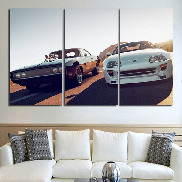 3 Panel Fast & Furious Double Car Wall Art Canvas