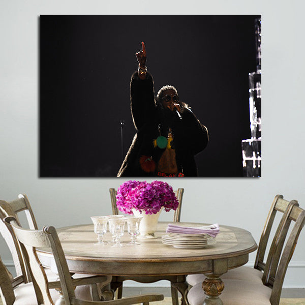 1 Panel Gucci Mane Singing Black Wall Art Canvas