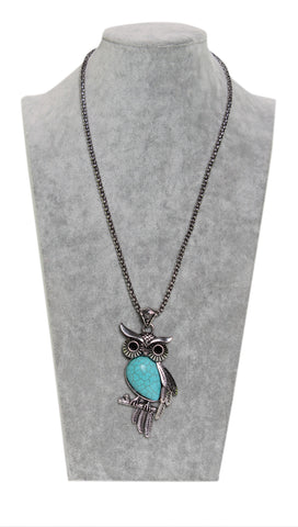 Turquoise Owl Necklace-Just Pay Shipping - Stylofi