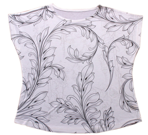 Leaves Print Dolman Top - Stylofi