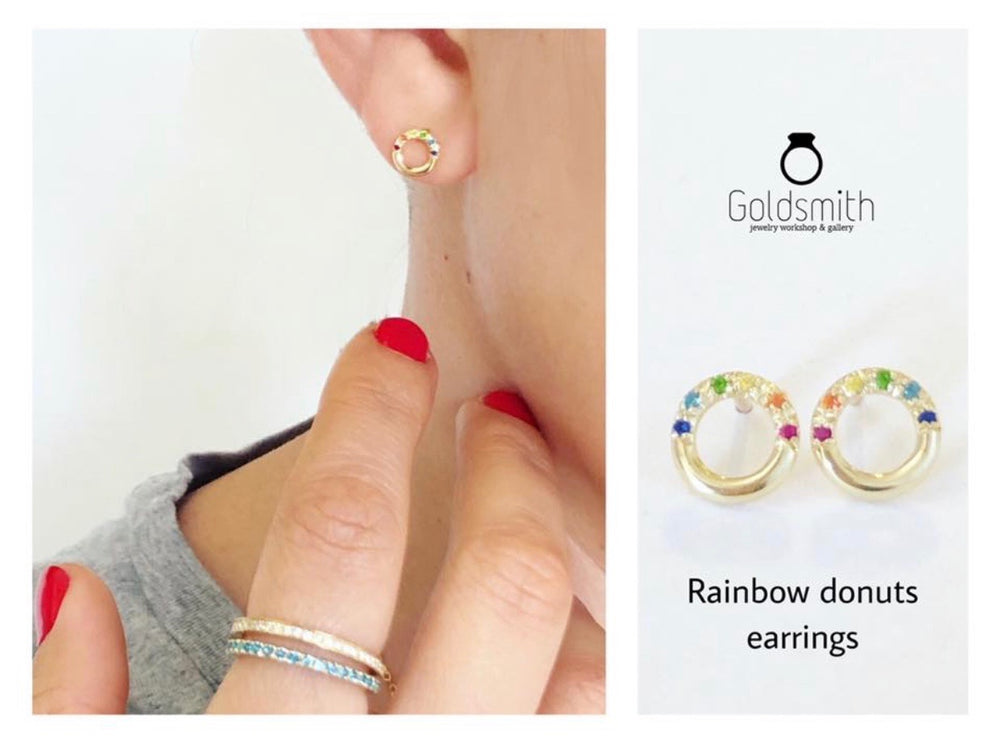 2Brainbow doughnut earrings