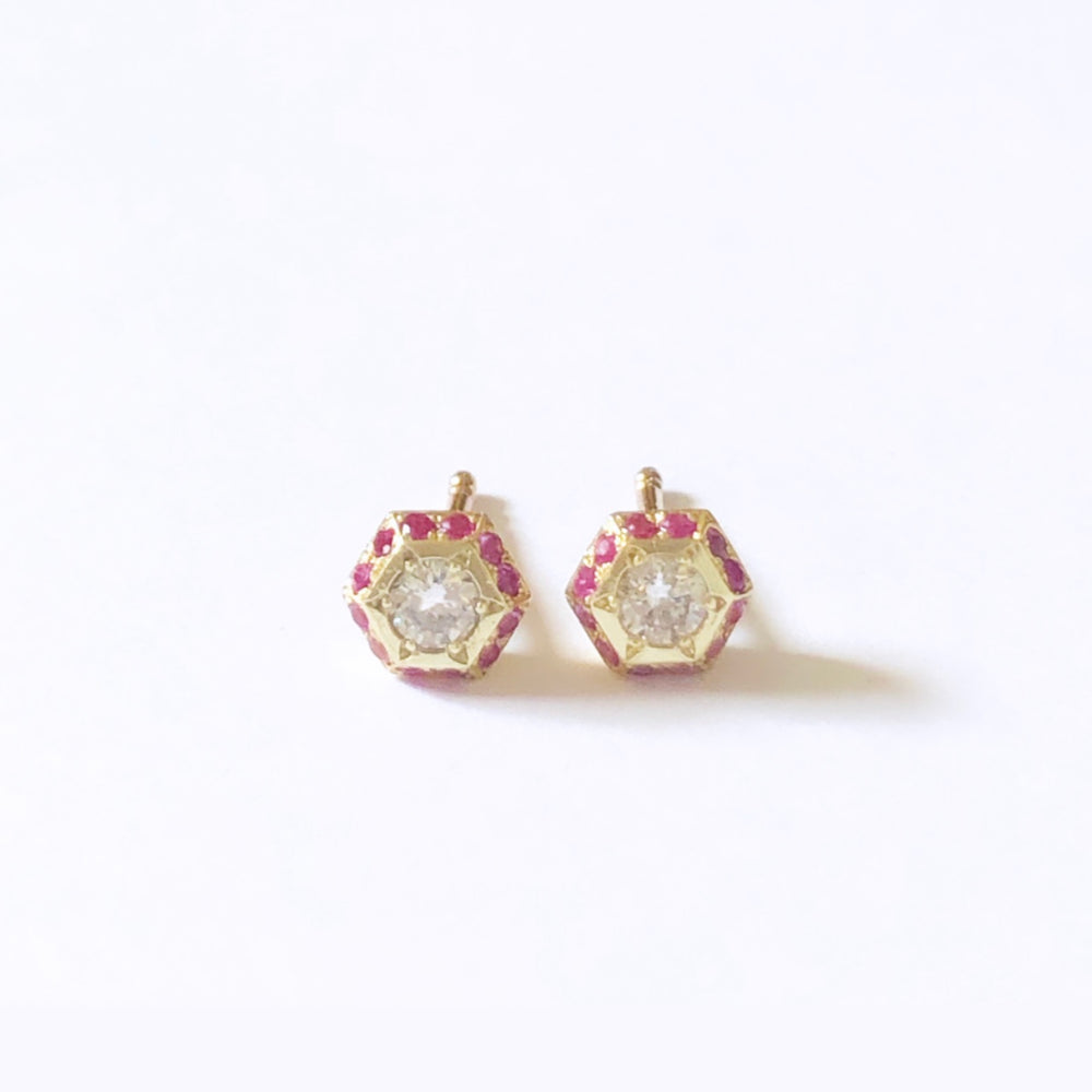 80 pink Hexagon earrings