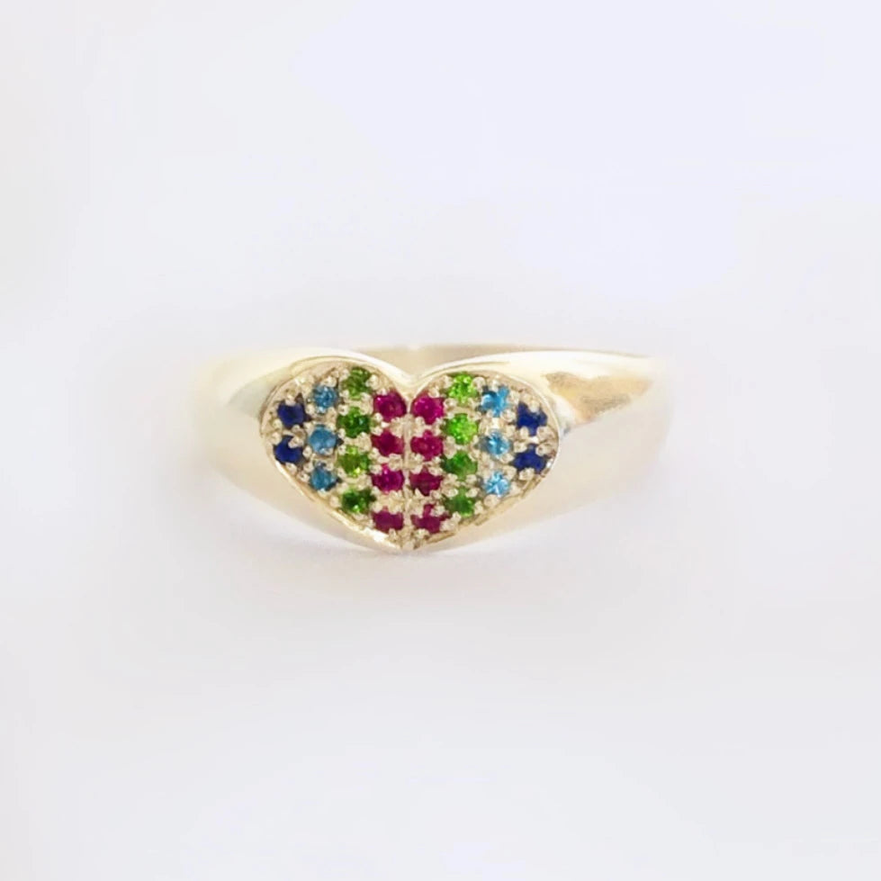 07 Rainbow Heart Signet Ring