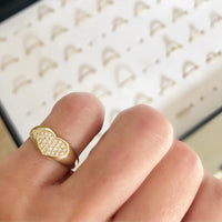 Diamonds Heart Signet Ring