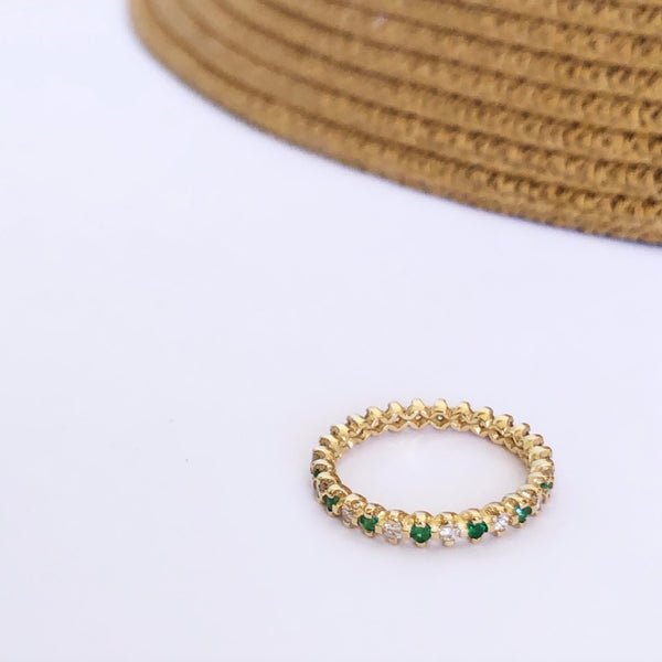 Eternity Diamonds & Emeralds Ring