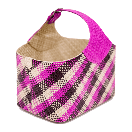 Pandan Market Basket — Pink Plaid