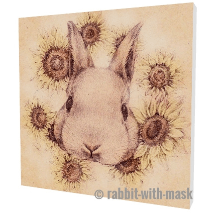 Sunflowers Bunny 6''x6'' canvas-wrap