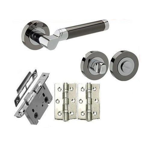 Chrome/Black Nickel - Bathroom - Door Handles On Rose Pack