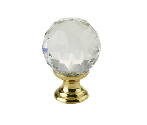 Swarovski Crystal Elements Faceted Cupboard Knobs 2000-30PB Polished Brass