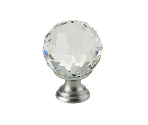 Satin Chrome Swarovski Crystal Elements Faceted Cupboard Knobs 2000-30SC