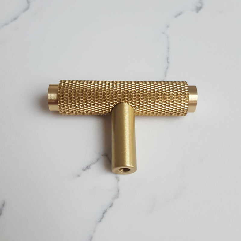 Satin Brass Knurled T Cabinet/Drawer/Cupboard Pull Handle - 50mm