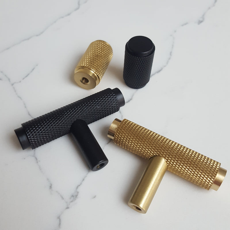 Knurled Cylinder Drawer/Cupboard Pull - Satin Brass Finish