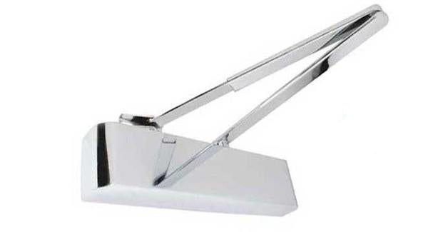 Power Size 2-4 Overhead Door Closer With Matching Arm - Polished Chrome