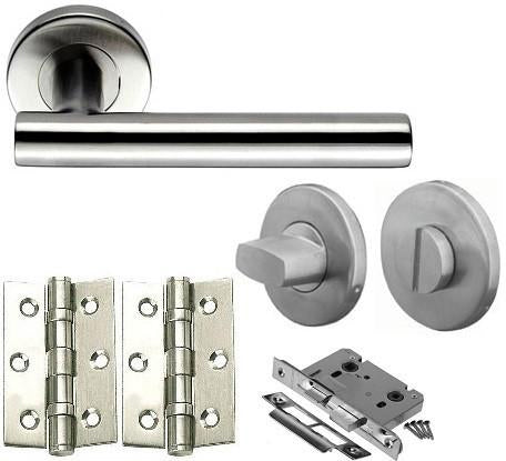 Stainless Steel - Bathroom - Door Handles On Rose Pack