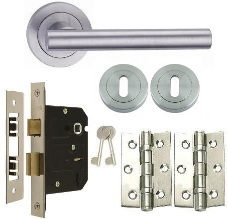 Door Handles on Rose Pack - Lock - Polished Chrome - Satin Chrome