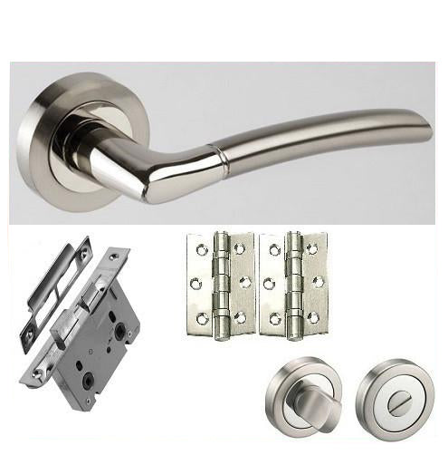 Curve Chrome/Satin Chrome - Bathroom - Door Handles On Rose Pack