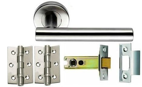 Stainless Steel - Latch - Door Handles On Rose Pack
