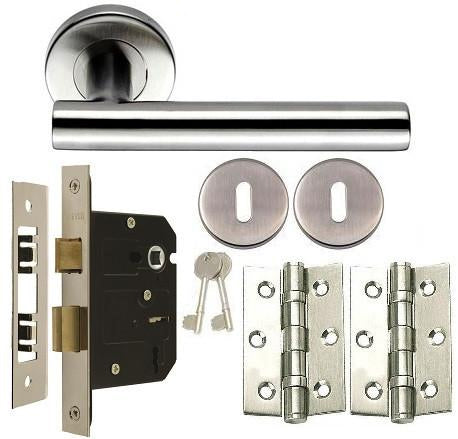 Stainless Steel - Lock - Door Handles On Rose Pack