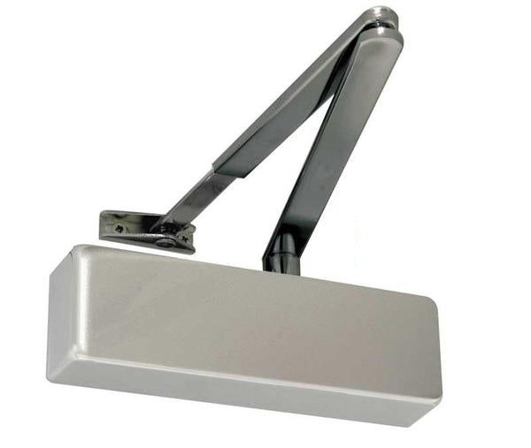Standard Power Size 2-4 Overhead Door Closer Black Arm - Satin Chrome