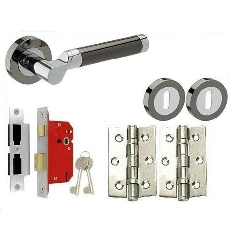 Chrome/Black Nickel - Lock - Door Handles On Rose Pack