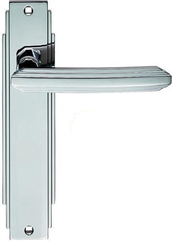ADR012CP CARLISLE BRASS ART DECO HANDLES - POLISHED CHROME LATCH DOOR HANDLES