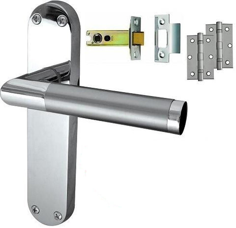 Door Handle on Backplate Pack - Latch - Dual Finish