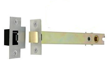 JL6666 100mm Satin Stainless Steel/Brass Architectural Double Sprung Mortice Latch