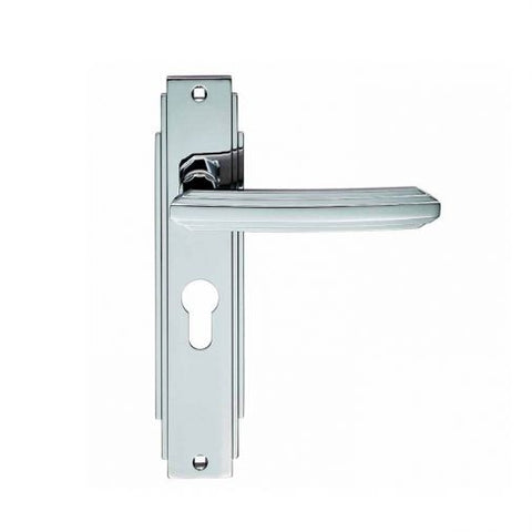 ADR011YCP ART DECO EURO PROFILE CARLISLE BRASS POLISHED CHROME DOOR HANDLES