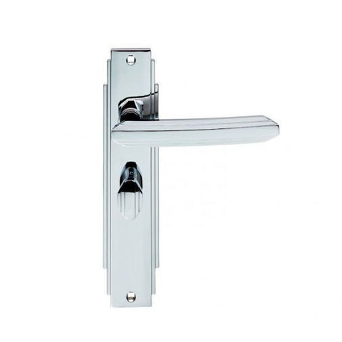 ADR013CP ART DECO CARLISLE BRASS POLISHED CHROME BATHROOM DOOR HANDLES
