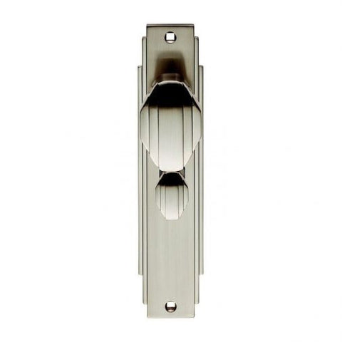 Satin Nickel Carlisle Brass Art Deco Door Knob On Bathroom Backplate ADR023SN