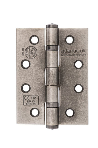 4 Inch Pewter Distressed Silver Ball Bearing Grade 13 Hinges - AH1433DS